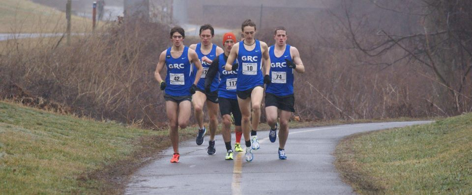 The Georgetown Running Club pack leads the Have a Heart for Boston-Hoffman Elementary School 5k. Photo by Cheryl Young