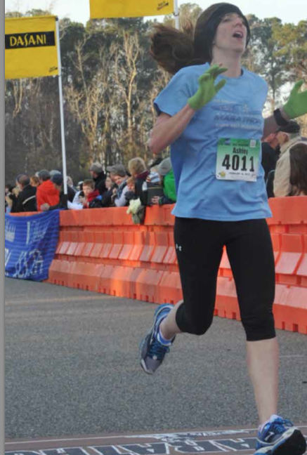 Ashley Flick finishes the 2013 Myrtle Beach Half Marathon in a PR time of 1:28:27. Photo: Marathon Foto