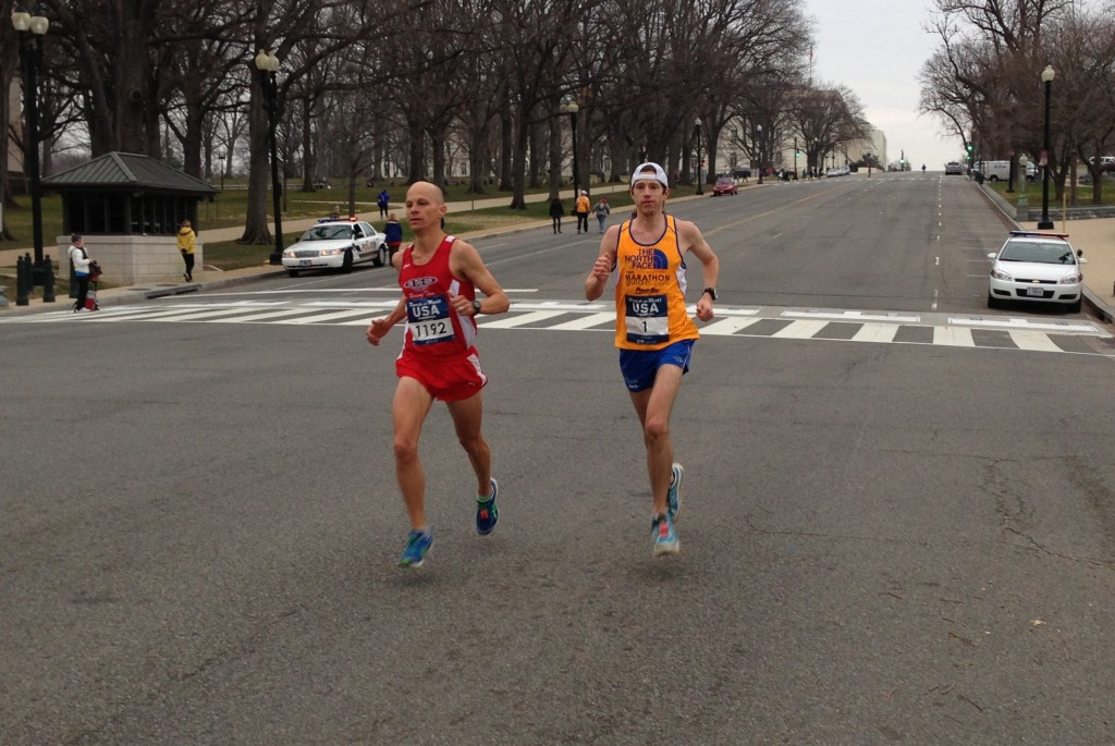 Rock 'n' Roll USA Marathon winner Peter Lawrence presses defending champion Michael Wardian at 14 miles.    Photo: Charlie Ban