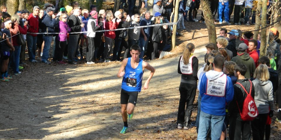 Chantilly's Sean McGorty maintains his lead at the Footlocker south regional.       Photos by Ed Lull