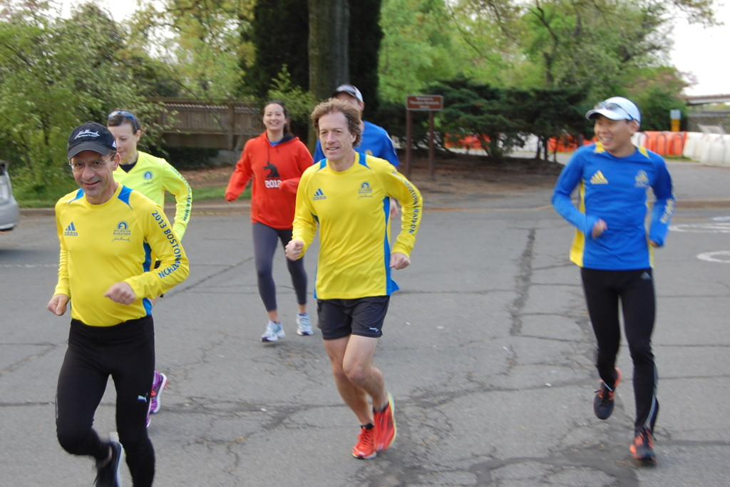Alan Pemberton, Janet Whittaker, Amanda Hamilton, Nick Haffenreffer, Robert Gillanders (obscured), and Dan Yi wore a variety of Boston Marathon shirts for their Saturday morning run, showing their support for the victims of the bombings and the marathon itself.                                                                                                 Photo: Charlie Ban