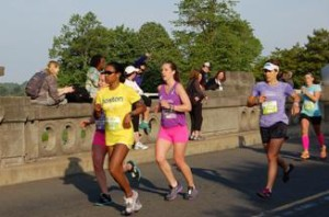 Alexa Mazur of North Kngston, R.I, Kaia Greene of Washington, D.C. Marisa Guerette of West Chester, Pa. and Lentine Zahler of Oakland, Calif. approach 10k.                                 Photo: Charlie Ban