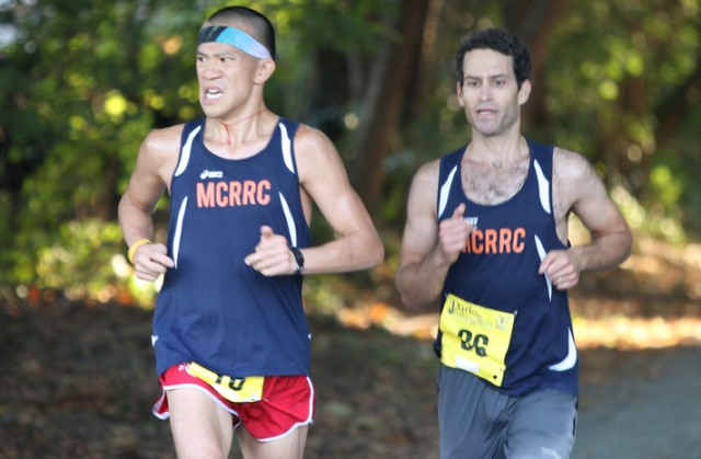 Frank Fung and David Storper represent the MCRRC elite team at the Parks Half Marathon. Photo: Steve Zuraf