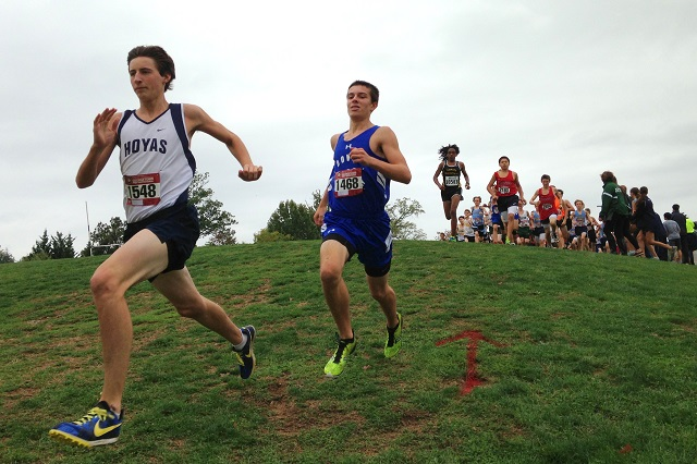 A Georgetown Prep freshman leads the way on the redesigned course during the Georgetown Prep Invitational. Photo: Charlie Ban