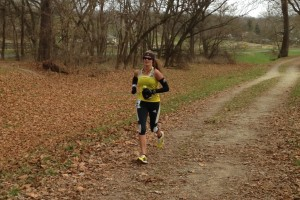 Emily Harrison passed mile 38 en route to winning the women's title at the JFK 50 Mile. Photo: Charlie Ban