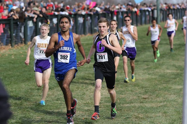 Fairfax's Aaqib Syed races Adam Huff to the line at the Virginia 6A boys state championship. Photo: Ed Lull