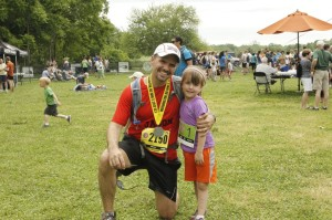 Jason Levine with his daughter Annabelle at the North Face Endurance Challenge. Photo:Shannon Culbertson