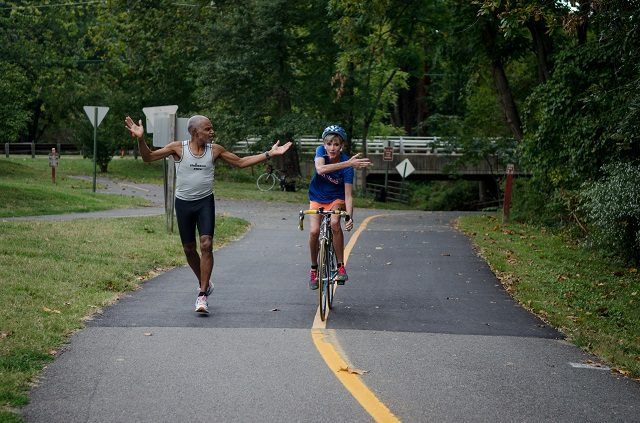 John Brittain and Betty Blank discuss the nuances of sharing the W&OD Trail. Photo: Jimmy Daly