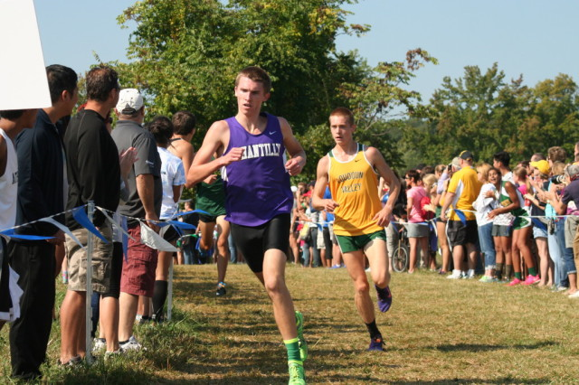 Chantilly's Ryan McGorty leads Loudoun Valley junior Andrew Hunter in the second mile at the Oatlands Invitational. Photo: Charlie Ban