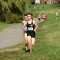 Diego Zarate leads Evan Woods in the Montgomery County Cross Country Championships. Photo: Charlie Ban