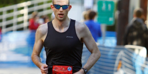 Jonathan Ferguson  nearing the finish line at the Parks Half Marathon. Photo: Dan Reichmann