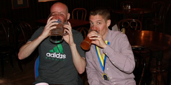 Mike Mongtomery drowns his sorrows after tearing his meniscus during the 2014 Boston Marathon