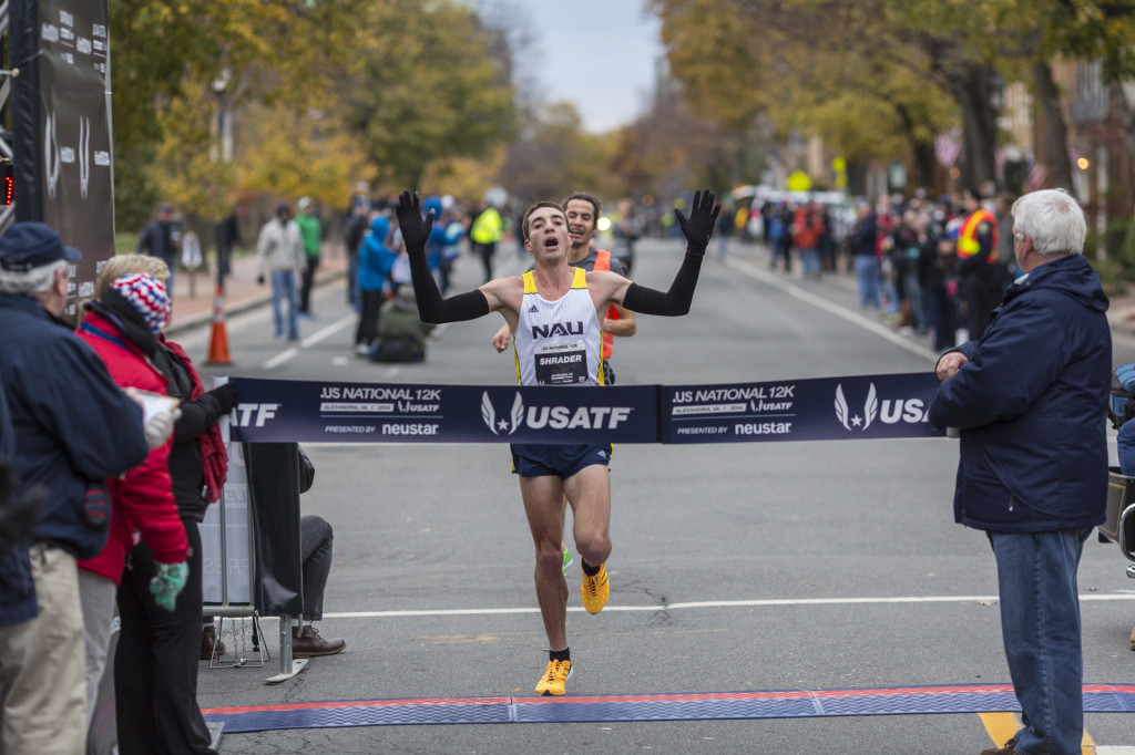 Brian Shrader pulled ahead of Diego Estrada in a sprint finish to win the .US National 12k. Photo: Dustin Whitlow