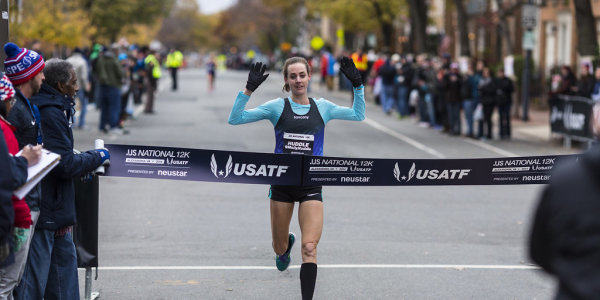 Molly Huddle breaks the tape for her second consecutive U.S. 12k championship. Photo: Dustin Whitlow