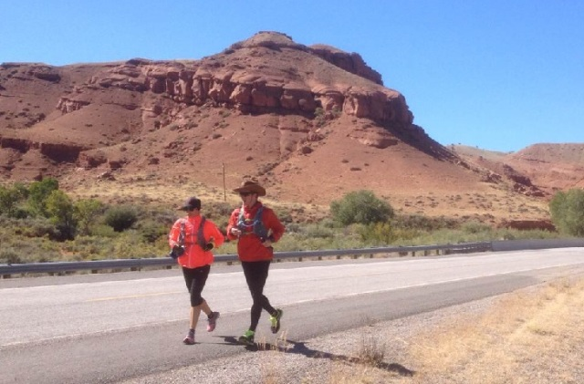 Ashley Donovan and Adam Meyer run outside of Dubois, Wyo. Photo: Courtesy of Donovan and Meyer