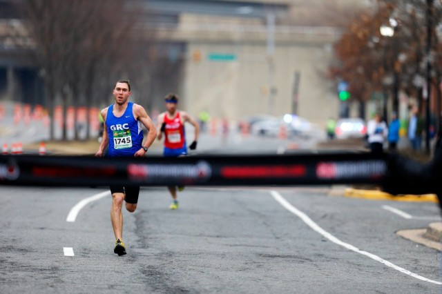 Kevin McNab nabs the win at the Love the Run You're With 5k. Photo: Brian W. Knight/Swim Bike Run Photography