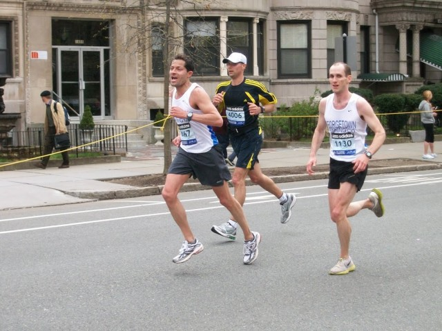 Chris Bain (right), of Takoma Park, will be making his annual trip to Boston from Hopkinton. Photo: Charlie Ban