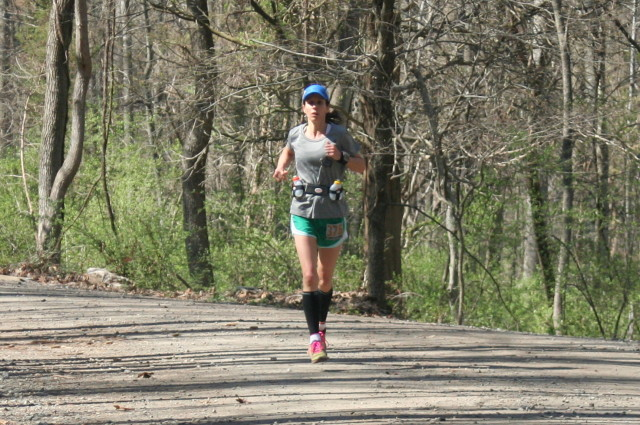 Margaret Campbell of Rockville, Md. finishes the Bull Run 50 Miler. Photo: Charlie Ban