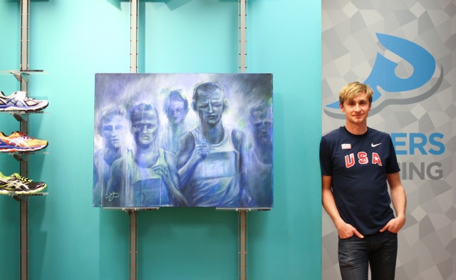 Landon Peacock and one of his paintings on display in the Logan Circle Pacers. Photo: Steve Laico