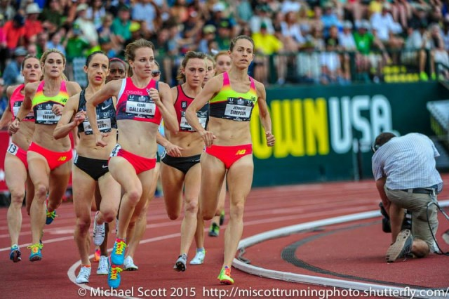 Kerri Gallagher pushes the pace against the USATF 1500m field, including eventual champ Jenny Simpson. Photo: Michael Scott