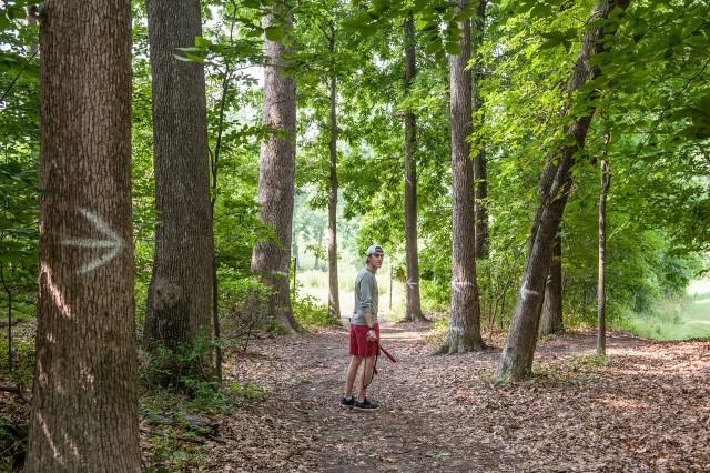 Mike Stubbs walks this Bullis School's cross country course. Photo: Marleen Van Den Neste