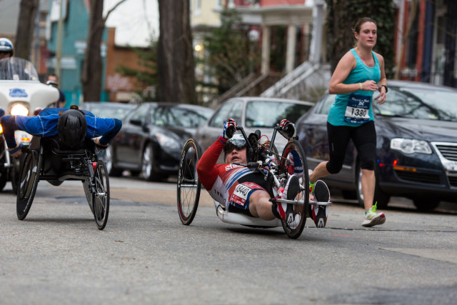 Wheeled marathon winner Darrin Snyder checks out his competition. Photo: Dustin Whitlow/DWhit Photography
