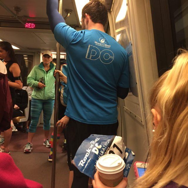 Early-morning Metro ride to the 2016 Rock 'n' Roll D.C. Marathon start. Photo: Charlie Ban