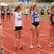 Casey Kendall, Sara Freix, Olivia Beckner and Reagan Bustamante line up for the 6A 1600 meters at the 2016 Virginia state track and field championships. Photo: Ed Lull