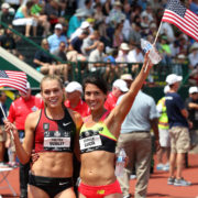Colleen Quigley and Stephanie Garcia at the 2015 USA Outdoor Track & Field Championships, where both qualified for the world championships team. Photo: Andrew McClanahan/PhotoRun