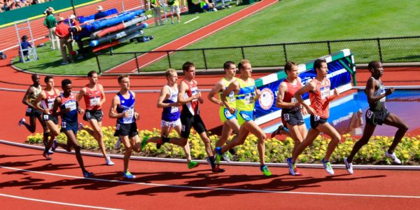 Sean McGorty (center) races in the 5,000 meter finals at the Olympic Trials. Photo; Ed Lull