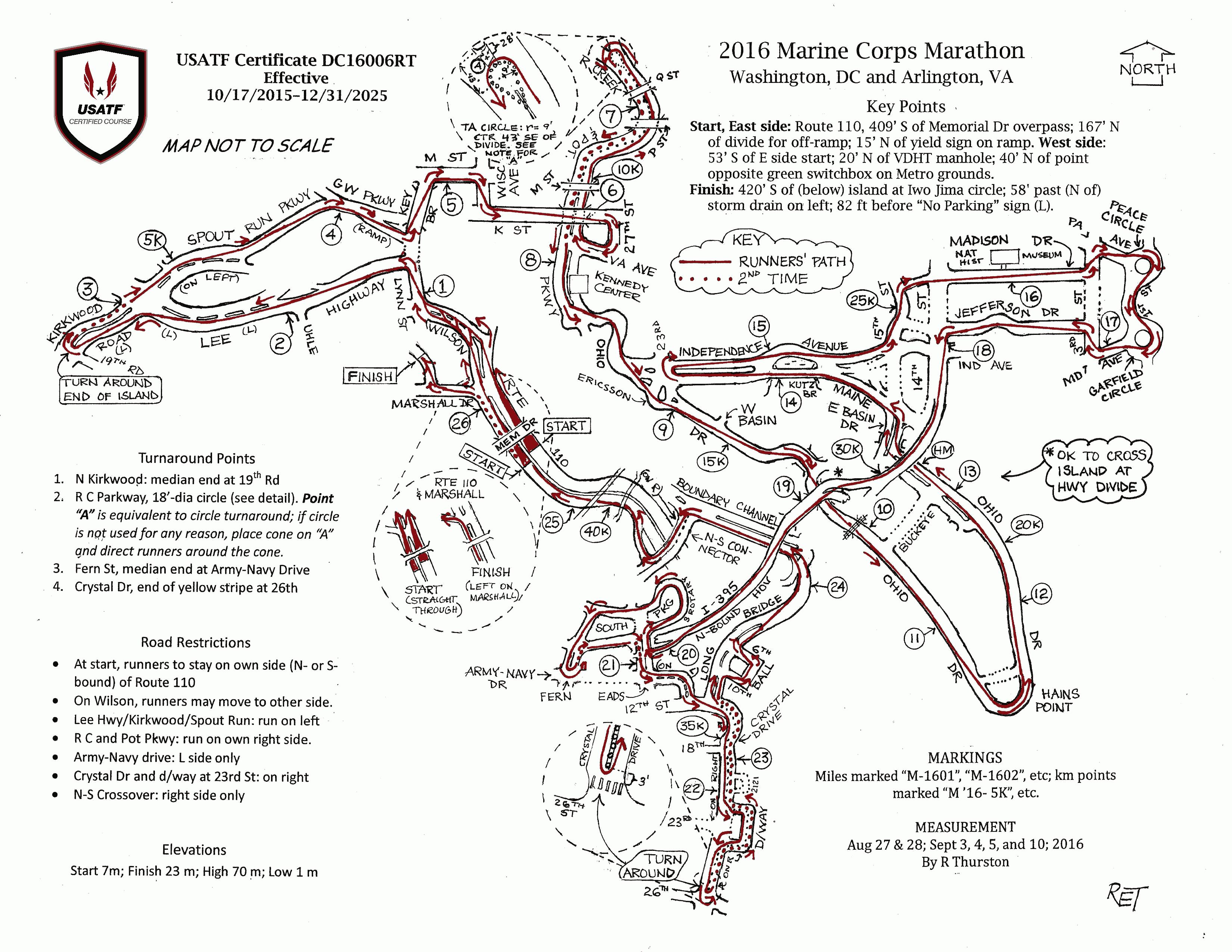 Marine Corps Marathon  RunWashington - Washington dc map by race