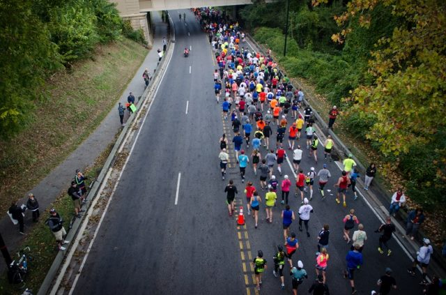 Rock Creek Parkway during the Marine Corps Marathon. Photo: Jimmy Daly