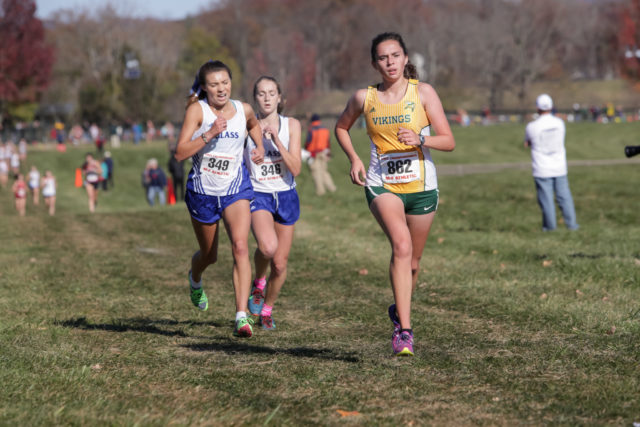 Natalie Morris increases her lead on Brooke Manion and Libby Davidson in the final stages of the 4A race. Photo: Bruce Buckley
