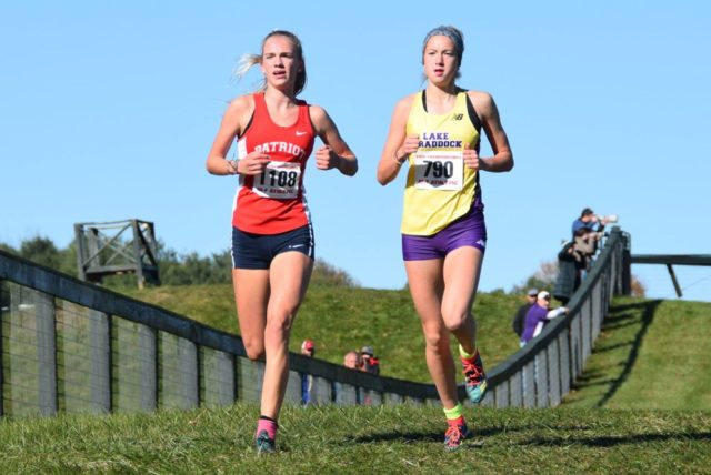 Rachel McArthur and Kate Murphy during the Virginia state meet. Photo: Charlie Ban