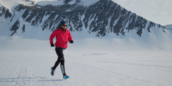 Telford in Antarctica, the first continent on which she raced.