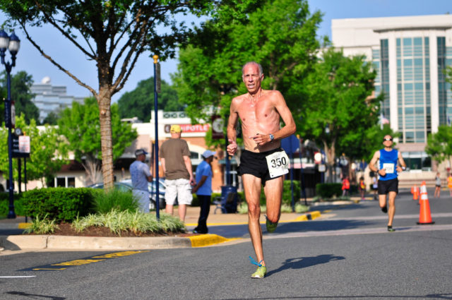 Ted Poulos in typical summer racing attire. Photo: Potomac River Running