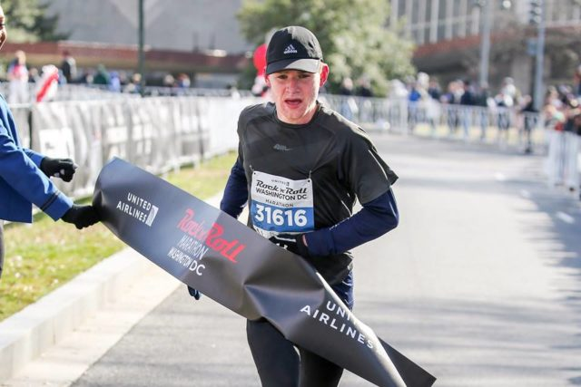 Sam Doud breaks the tape at the Rock 'n' Roll D.C. Marathon. Photo: courtesy of Rock 'n'