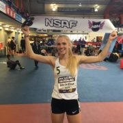 Rachel McArthur after winning the New Balance Indoor 800 meters. Photo: Lisa McArthur