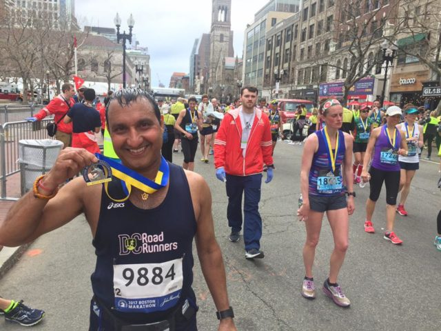 Vienna's Raj Bhanot celebrates finishing the 2017 Boston Marathon. Photo: courtesy of Raj Bhanot