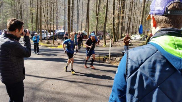 Gary Robbins and John Kelly head into camp following a clockwise loop of the Barkley Marathons. Photo: