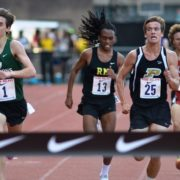 Rohann Asfaw (RM) and Ryan Lockett (Poolesville) close in on the finish line during the 3k at the Penn Relays.