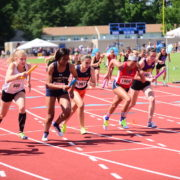 Seneca Willen, Devonya Brown, Rachel Mayberry, Sierra Biber and Shannon Browning lead off their respective 4x800 meter relays teams at the Virginia 6A championships. Photo: Lisa McArthur