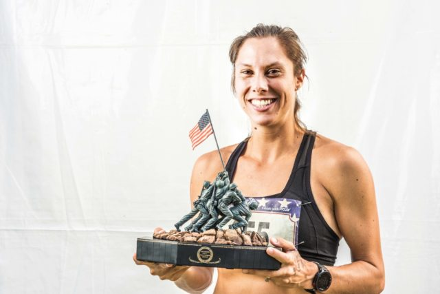 Photo By Doug Stroud Sarah Bishop finished fourth in the 2016 MCM, falling short of her goal of top three, so for 2017 she aspired to better her results. Doing that and more Bishop, (35), of Fairfax, VA took top honors in the Womens Division in the 2017 Marine Corps Marathon with a time of 2:45:07. After taking a long break from running, getting married and becoming a mother of four she started running again. Her sights are next on the California International Marathon in December and hopes to run a sub 2:45:00 time